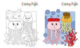着色页水母 免版税图库摄影