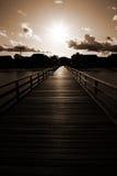 着陆码头阶段日落 免版税库存照片