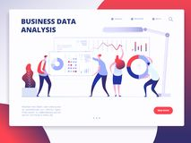 着陆页模板 数字市场分析家,与动画片人的销售的企业网站传染媒介设计 库存例证