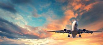 着陆飞机 与白色乘客飞机的风景 库存照片