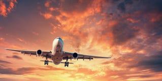 着陆飞机 与白色乘客飞机的风景 免版税库存图片