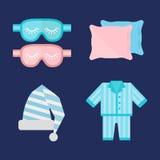 睡眠睡衣象传染媒介例证床标志标志梦想卧室上床时间睡衣把枕在 库存图片