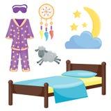 睡眠象传染媒介例证集合汇集休息象月亮放松上床时间夜床时间元素 库存例证