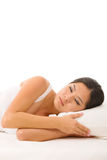 睡着亚裔的妇女 免版税库存图片