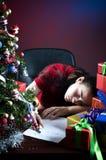 睡着的列表要想的圣诞老人 免版税库存图片