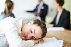 睡着的女实业家 库存照片
