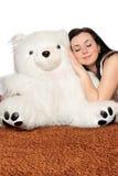 睡着的熊女孩倾斜的女用连杉衬裤 免版税库存图片