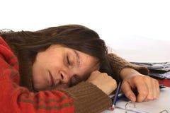 睡着落妇女文字年轻人 库存图片