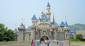 睡美人城堡在香港迪斯尼乐园 库存照片