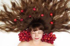 睡美人有长的头发顶视图 库存图片