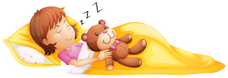 睡觉与她的玩具的一个女孩 向量例证