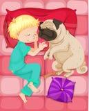 睡觉与爱犬的男孩在床上 库存例证