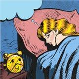 睡觉与警报的妇女叫醒流行艺术可笑的样式例证 免版税库存照片