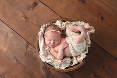 睡觉在一个木碗的微笑的新出生的女孩 免版税库存照片