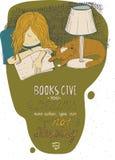 睡觉在书的女孩和猫 导航手拉的五颜六色的大例证,做用墨水,被隔绝在白色,与简单的motiva 图库摄影