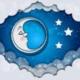 睡觉在云彩的月亮 皇族释放例证