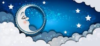睡觉在云彩的横幅月亮 皇族释放例证