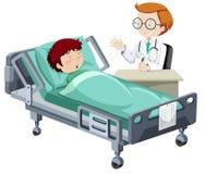 睡觉在医院的一个病的男孩 库存例证