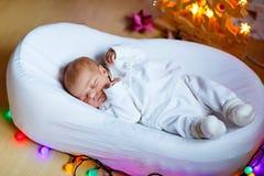 睡觉在圣诞树附近的一个星期的新出生的女婴 免版税库存照片