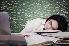睡觉在学习的女孩检查的以后 库存照片