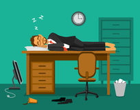 睡觉在工作书桌上的被用尽的雇员在办公室 向量例证