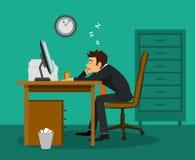 睡觉在工作书桌的乏味雇员在办公室 库存例证