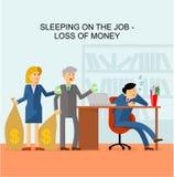 睡觉在工作-金钱损失  免版税库存图片