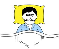 睡觉在床上的人 免版税库存图片