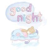 睡觉在床上的玩具熊 手拉的熊 传染媒介玩具熊 休眠 晚上 晚上好 免版税库存照片