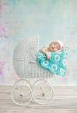 睡觉在摇篮车的逗人喜爱的孩子 图库摄影