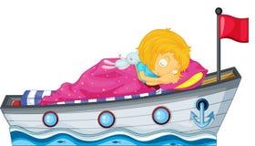 睡觉在有一条桃红色毯子的一艘船的女孩 库存照片