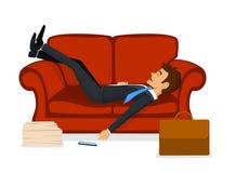 睡觉在沙发的被用尽的办工室职员在工作以后 皇族释放例证