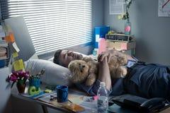 睡觉在的办公室工作者与玩具熊一起使用 免版税库存照片