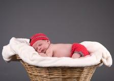 睡觉在篮子的新出生的婴孩 库存照片