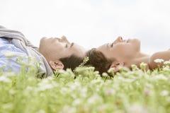 睡觉在草的年轻夫妇侧视图反对清楚的天空 库存图片