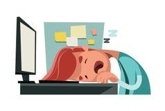 睡觉在计算机例证漫画人物的办公室 库存图片