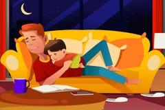 睡觉在长沙发的父亲和儿子 库存例证