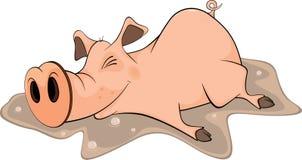 猪和水池。 动画片 图库摄影