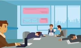 睡觉在介绍的乏味和疲倦的企业队在办公室 库存图片