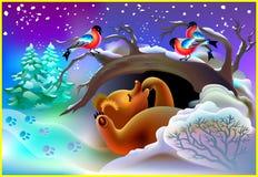 睡觉在洞的熊的例证在冬天期间 免版税库存照片