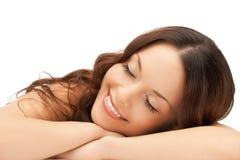 睡觉的妇女在家 免版税图库摄影