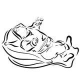睡觉的婴孩,初期,染黑剪影 向量例证