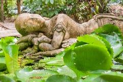 睡觉石夫人雕塑在公园里 图库摄影