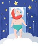 睡觉婴孩梦想成为宇航员 免版税库存照片