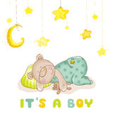 睡觉婴孩熊和星 免版税库存照片