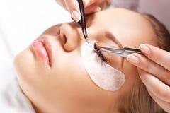 睫毛引伸做法 与长的睫毛的妇女眼睛 鞭子,关闭,选择的焦点 库存图片