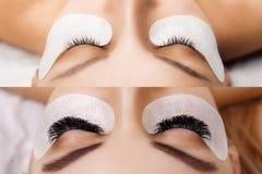 睫毛引伸 前后女性眼睛比较  好莱坞,俄国容量 库存照片