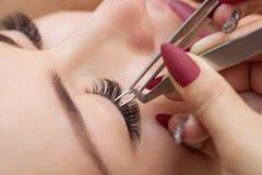 睫毛移动程序关闭  有长的鞭子的美丽的妇女在美容院 图库摄影