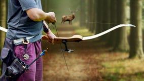 瞄准一个白尾大型装配架的弓猎人反对 免版税库存图片