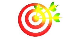 瞄准和在白色背景, 3D的三个发光的金黄箭头例证 免版税库存图片